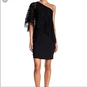 Nanette Lepore One Shoulder Lace Black Dress Sz 4